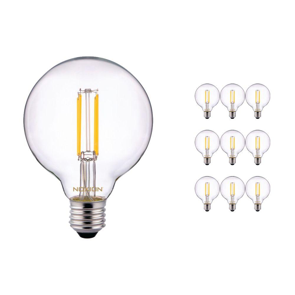 Mehrfachpackung 10x Noxion PRO LED Globe Classic Fadenlampe G95 E27 6.5W 827 Klar | Extra Warmweiß - Ersatz für 60W