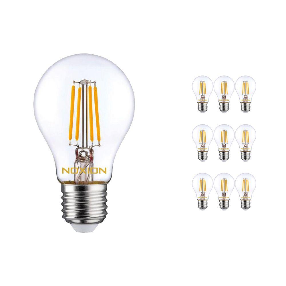 Mehrfachpackung 10x Noxion Lucent Fadenlampe LED Bulb 8W 827 A60 E27 Klar   Extra Warmweiß - Ersatz für 75W
