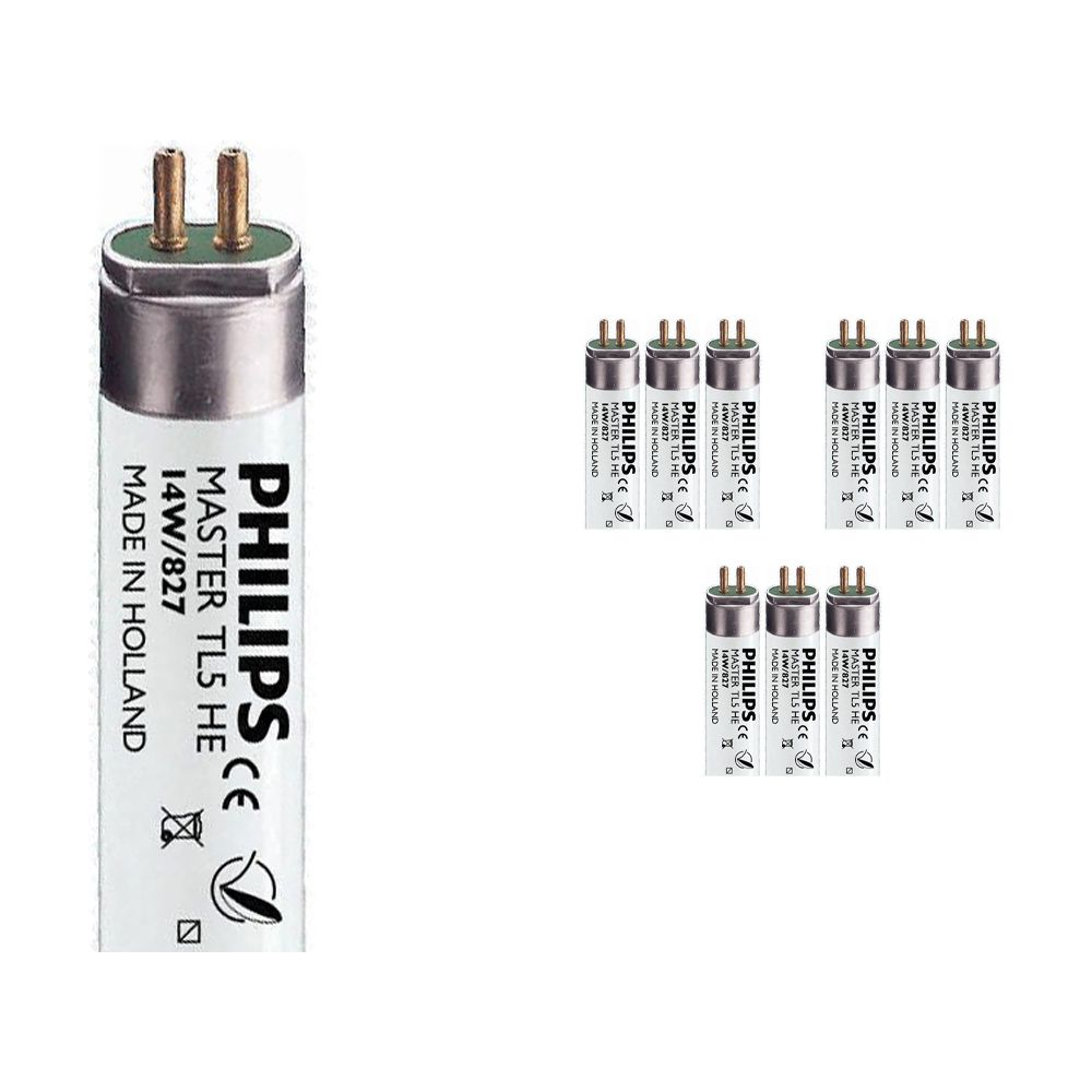 Mehrfachpackung 10x Philips TL5 HE 14W 827 (MASTER) | 55cm - Extra Warmweiß