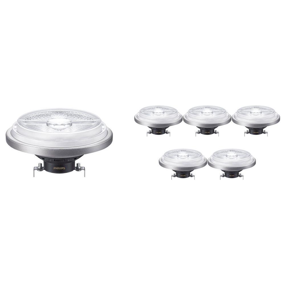 Mehrfachpackung 6x Philips LEDspot ExpertColor G53 AR111 (MASTER) 15W 930 24D | Dimmbar - Höchste Farbwiedergabe - Ersatz für 75W