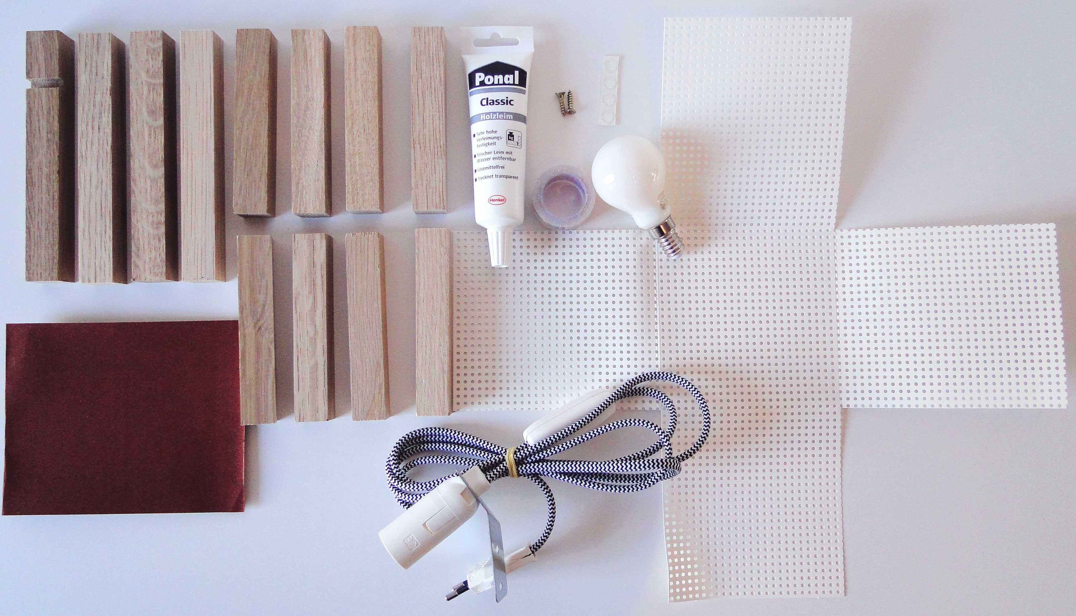 Benötigte Materialien für Ihre Würfel-Leuchte aus Holz