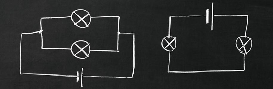 Reihen- und Parallelschaltung als Tafelbild