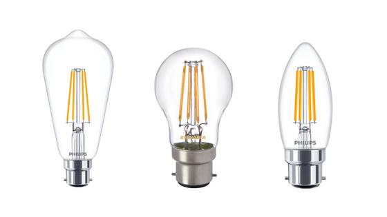 Verschiedene B22-Lampen nebeneinander