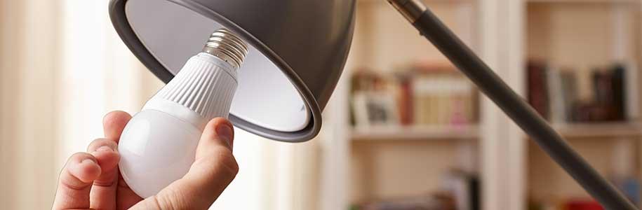 LED-Birne in Hand