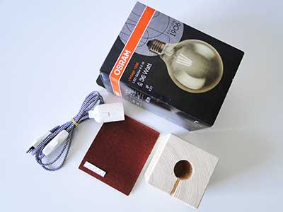 Benötigte Materialien für Ihre DIY Tischlampe aus Holz