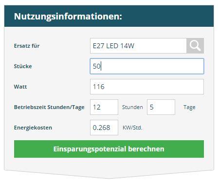 Nutzungsinformationen Halogen vs. LED