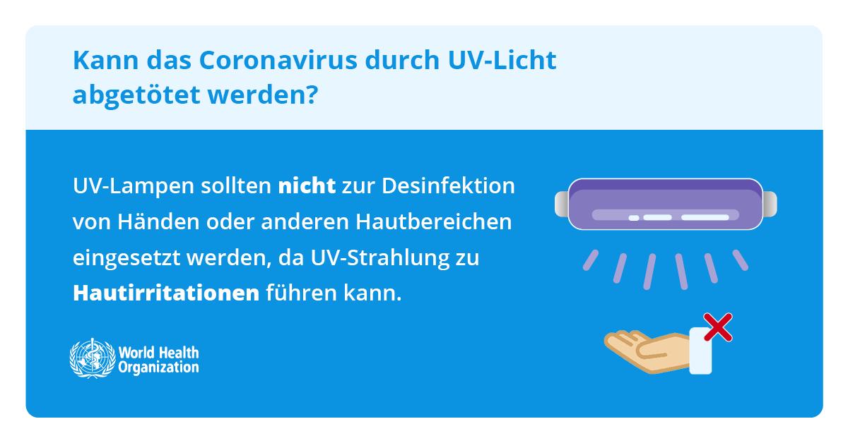 UV-Lampen nicht zur Desinfektion von Haut nutzen
