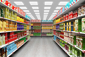 Grundbeleuchtung im Supermarkt
