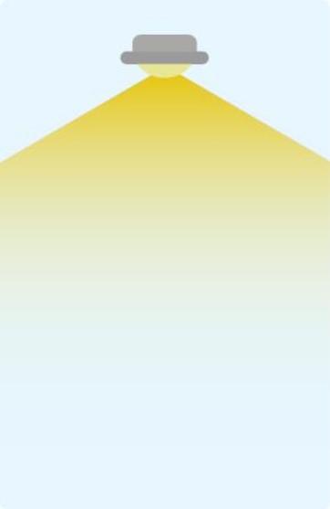 Extrabreiter Abstrahlwinkel mit 160-360 Grad